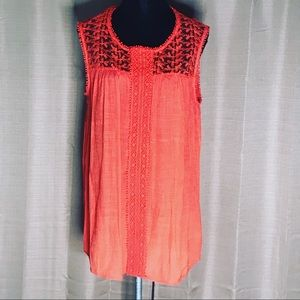 NEW DIRECTIONS CURVY LACE BOHEMIAN TANK L #596